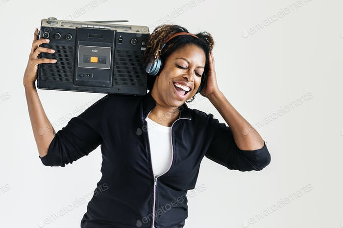 Woman enjoy listening to music