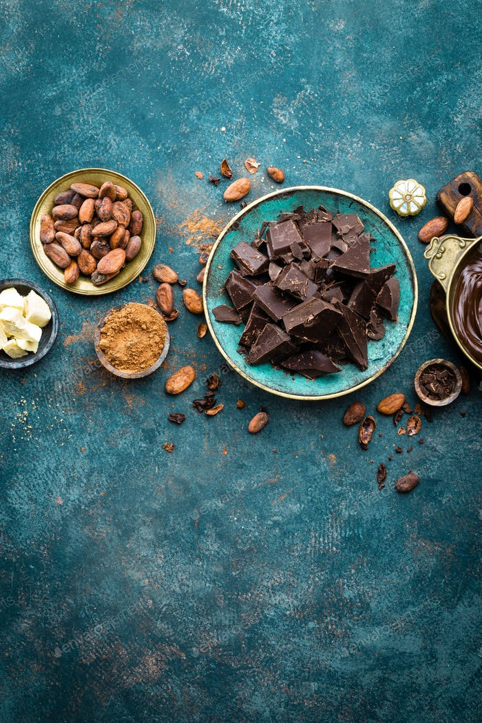 Chocolate. Dark bitter chocolate chunks, cacao butter, cocoa powder and cocoa beans