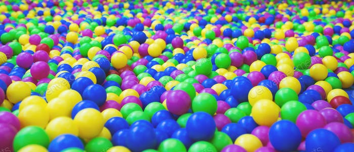 Background from bright multi-colored plastic balls
