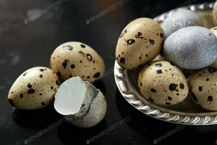 Quail eggs in vintage silver plate