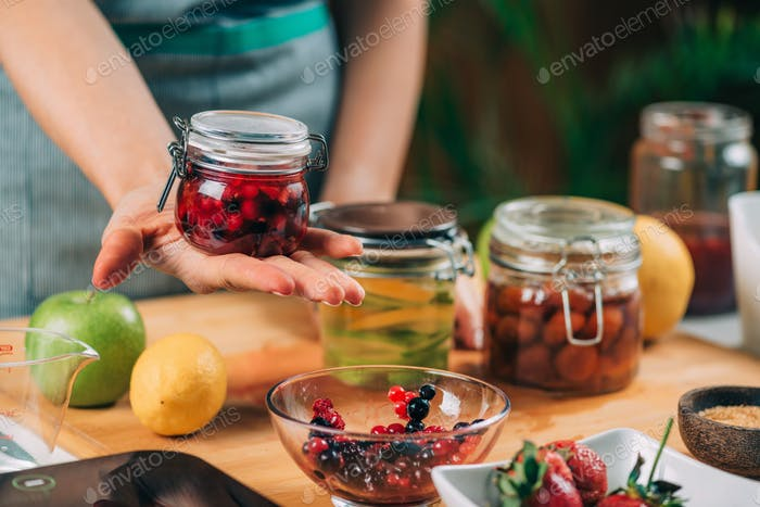 Jar with Fermented Fruits