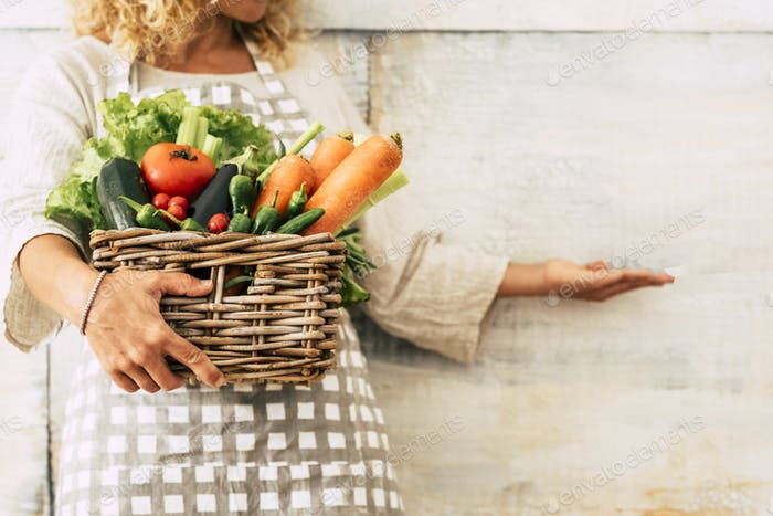 Agriculture and vegetable store concept with woman