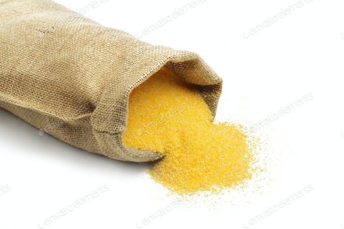 jute bag with cornmeal