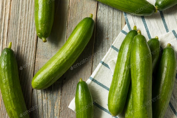 Raw Green Organic Persian Cucumbers