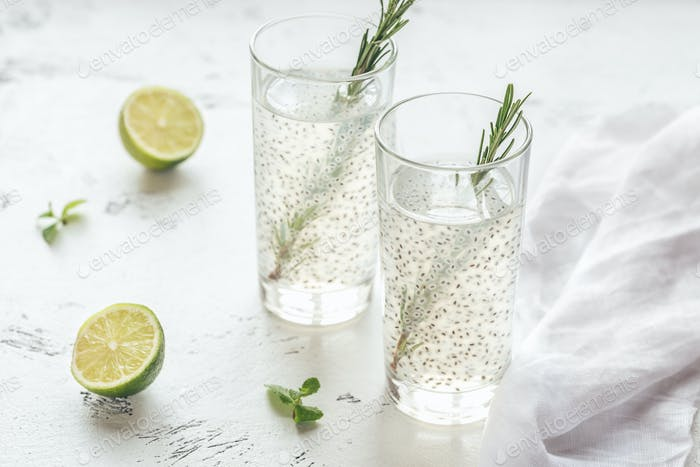 Two glasses of basil seed drink