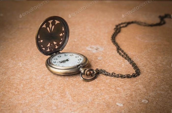 Stopwatch on woodden
