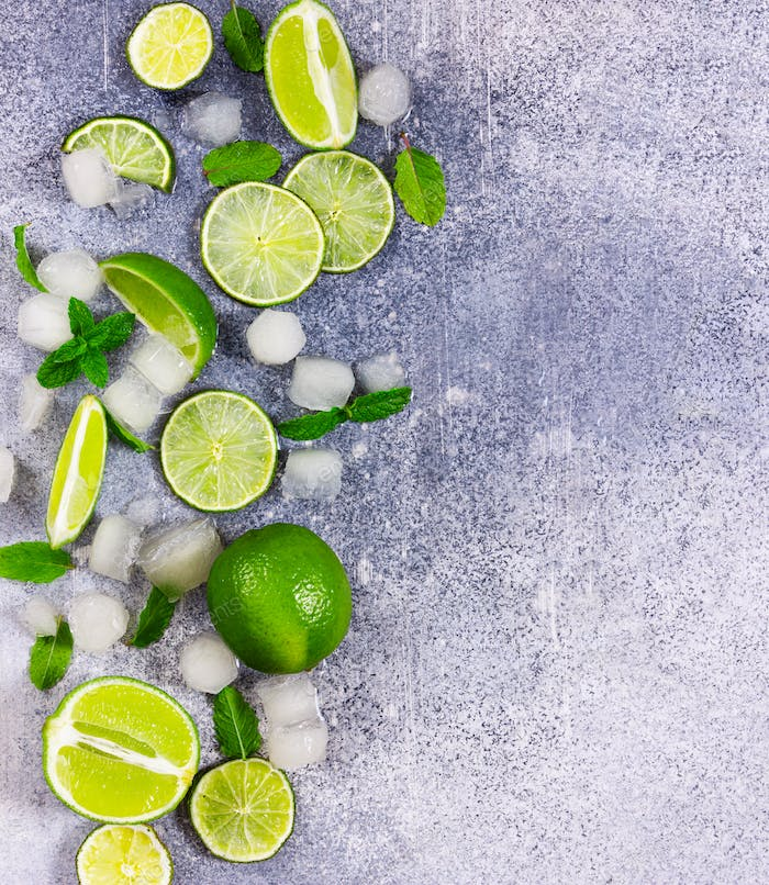 Fresh lime, mint and ice. Ingredients for Mojito