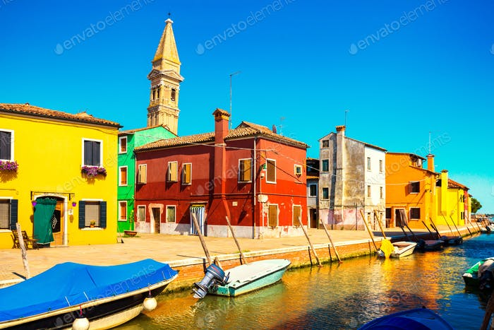 Venice landmark, Burano island canal, colorful houses, church an