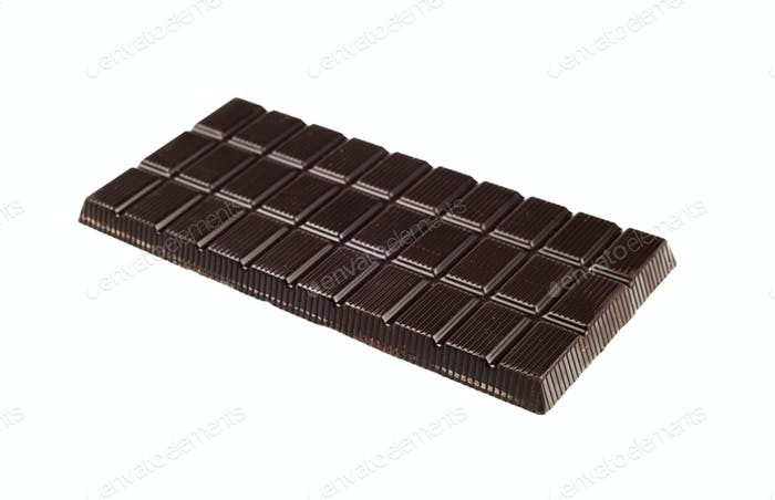 Chocolate dark tablet isolated on white background