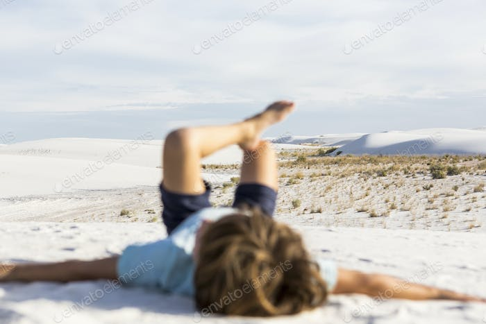 blurred young boy, White Sands Nat'l Monument, NM