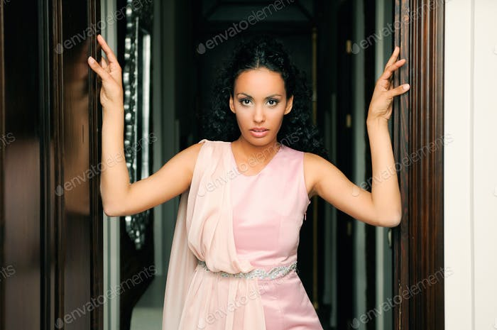 Thumbnail for Young black woman, model of fashion, with pink dress