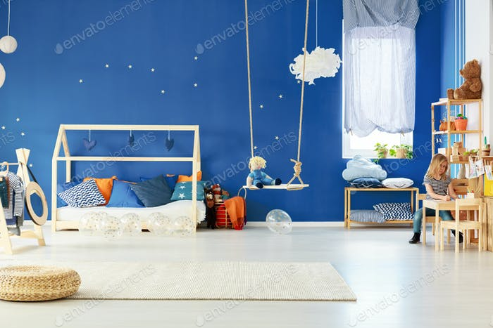 Functional child room with swing