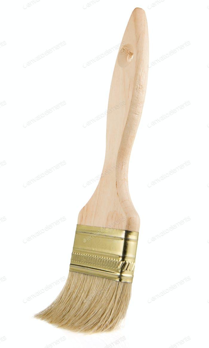 wooden paintbrush isolated on white