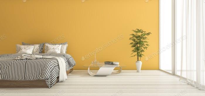 3d rendering yellow bedroom with minimal decor and daylight