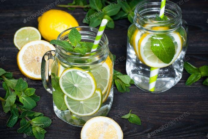 Lemonade with mint in a mason jar