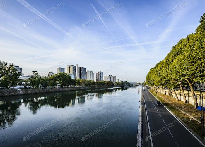 54345,Paris city skyline along Seine River, Paris, France