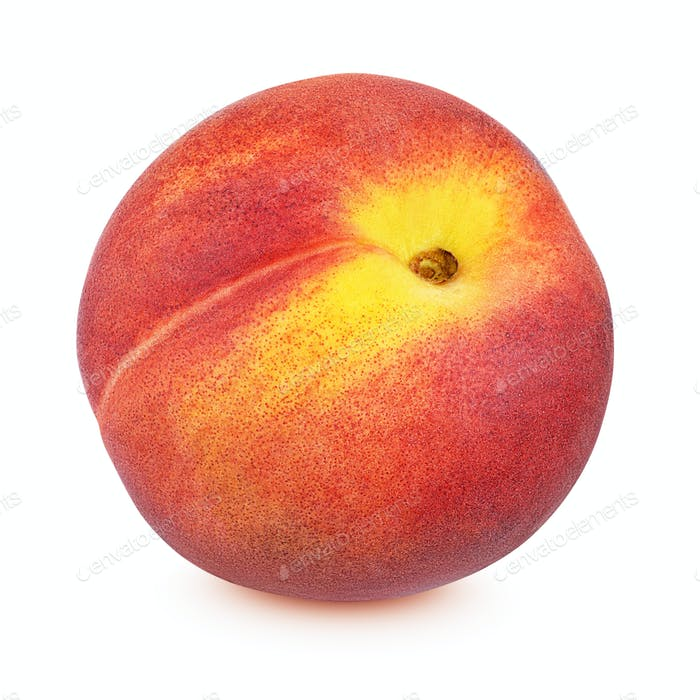 Red peach isolated on white background