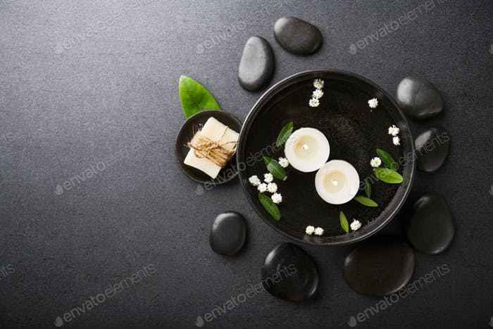 Spa accessories on dark background