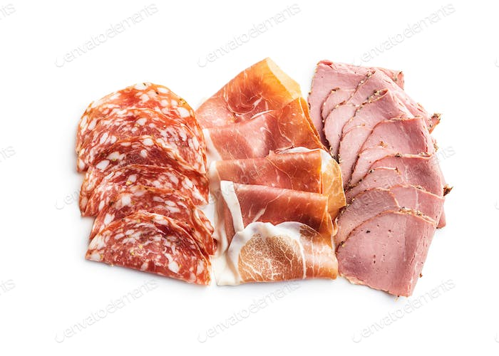 Sliced salami, prosciutto and roast beef.