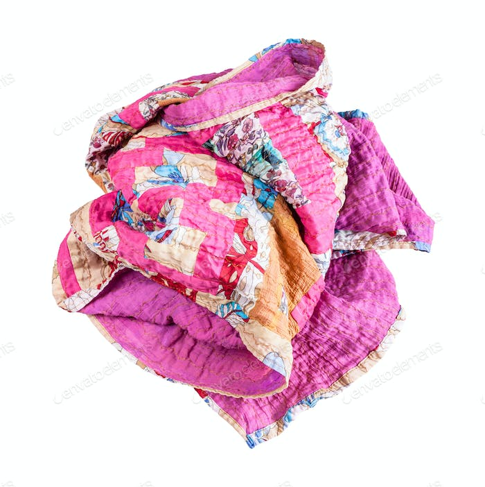 crumpled stitched patchwork scarf from silk strips