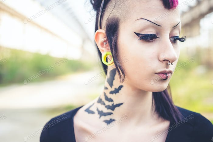 young beautiful punk dark girl