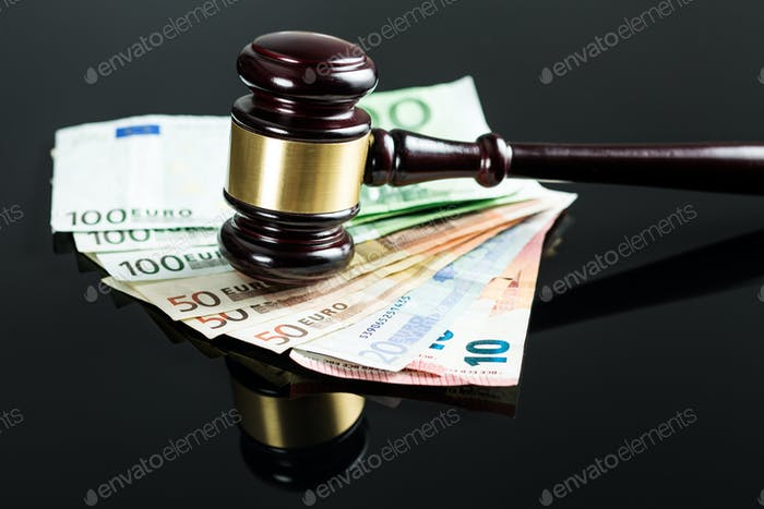 Gavel and euro money.
