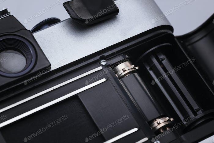 Nahaufnahme des alten Retro-Filmkamera-Objektivs