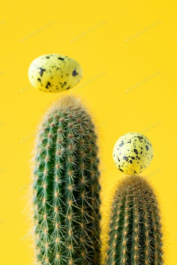 Kreatives Layout Osterhintergrund. Kaktus
