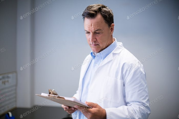 Male doctor reading reports in corridor