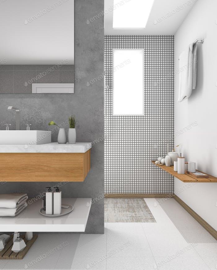 3D Rendering minimale Holzspüle im Badezimmer