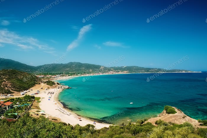 Beautiful sea landscape on Chalkidiki isle in Greece