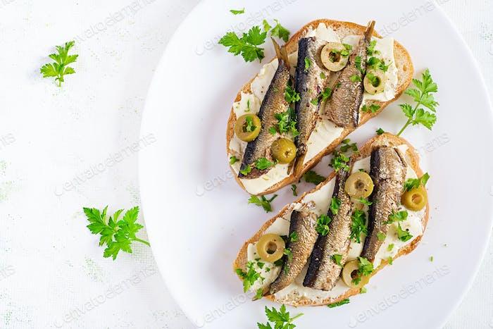 Sandwich - smorrebrod with sprats
