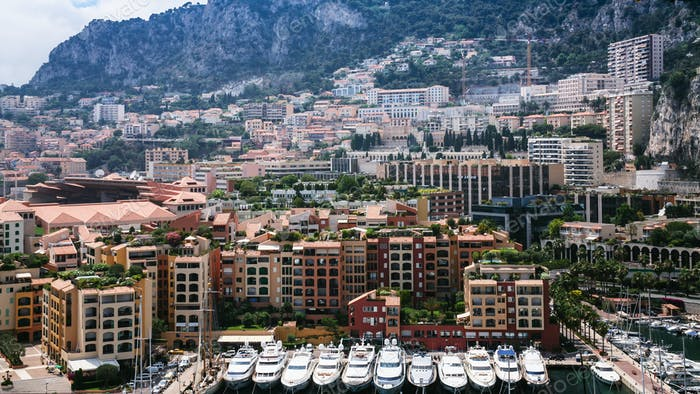 above view of residential districts in Monaco city