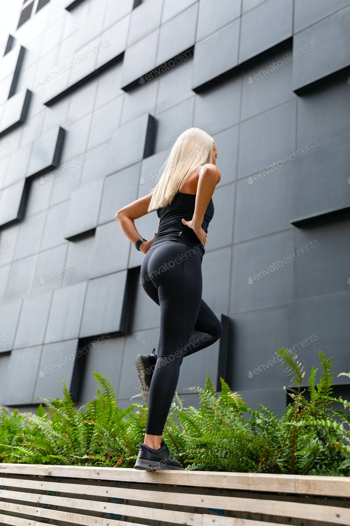 Active Woman Doing Step Workout Outdoor in the City