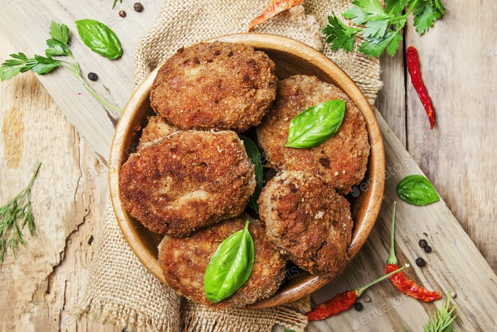 pork-beef cutlets or meatballs in a bowl