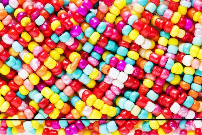 Colorful pearls decorative closeup