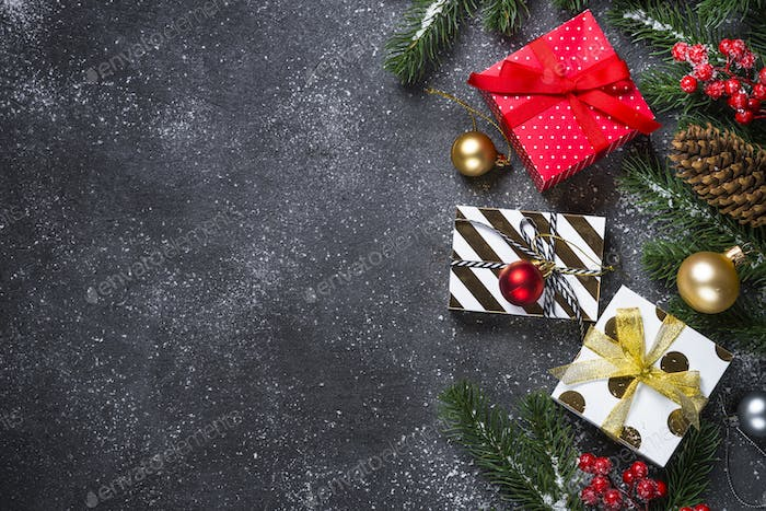 Christmas background - red, Gold and silver decorations and pres