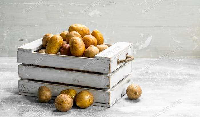 Potatoes in a box.