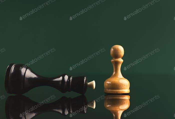 White pawn has got victory under black queen