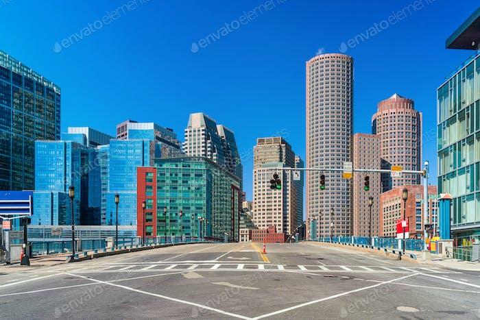 Boston Cityscape under blue sky, Massachusetts, USA downtown skyline