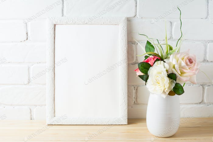 White frame mockup with tender pink roses bunch