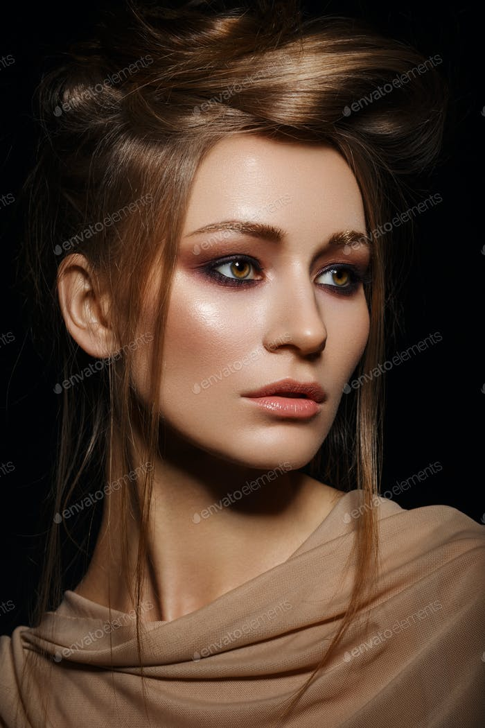 beautiful girl with smoky eye make up
