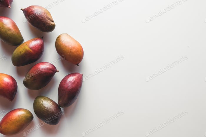 Group of mangos on white background. Healthy food, healthy lifestyle