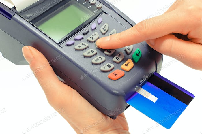 Using credit card and payment terminal, enter personal identification number
