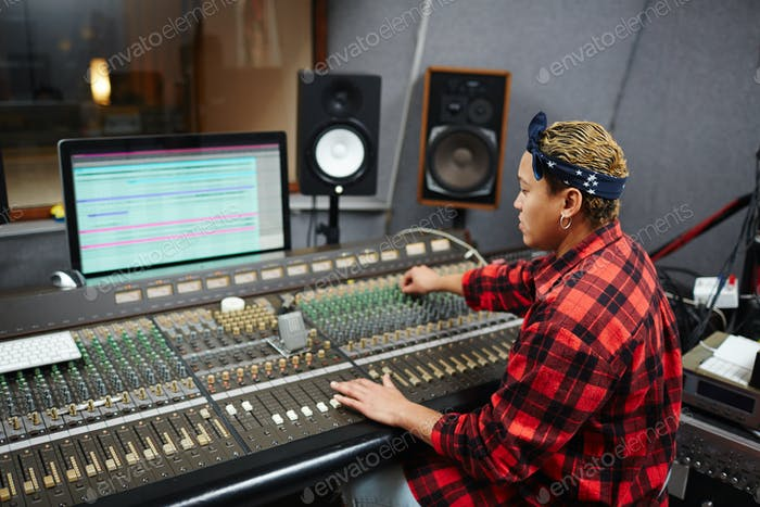 Work in audio studio