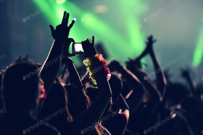 Crowd Party bei einem Musikkonzert, Publikum mit erhobenen Armen