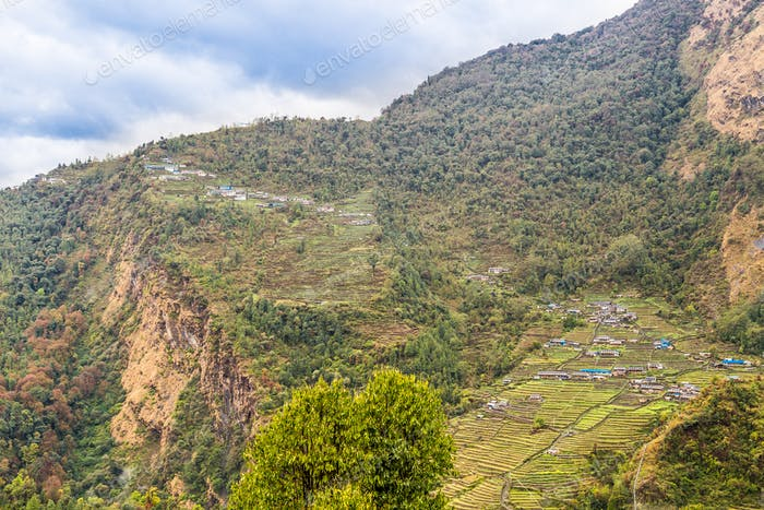 Overview of upper and lower Chomrong village, Nepal