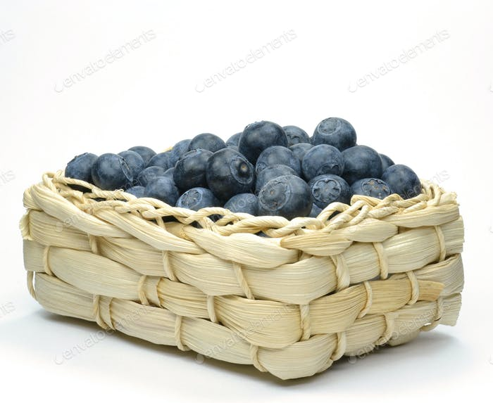 Blueberries in a Straw Basket