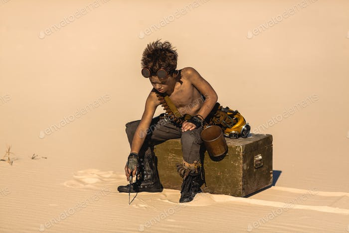 Post-apocalyptic Warrior Boy Outdoors in Desert Wasteland