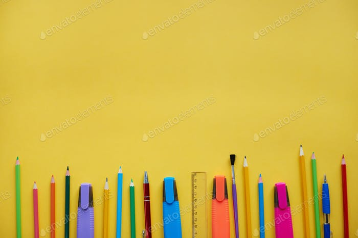 School supplies showing in a row